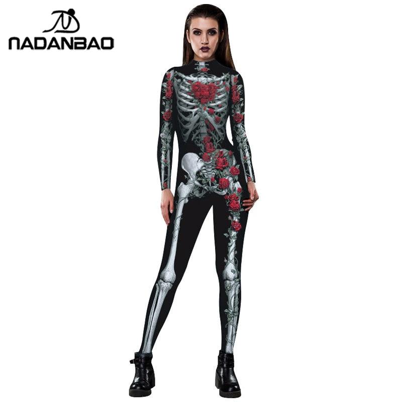 NADANBAO Purim Carnival Costumes For Women Floral Bone Costume Scary Rose Skeleton Skull Plus Size Jumpsuit