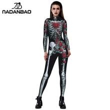 NADANBAO פורים קרנבל תלבושות עבור נשים פרחוני עצם תלבושות מפחיד עלה שלד גולגולת בתוספת גודל סרבל