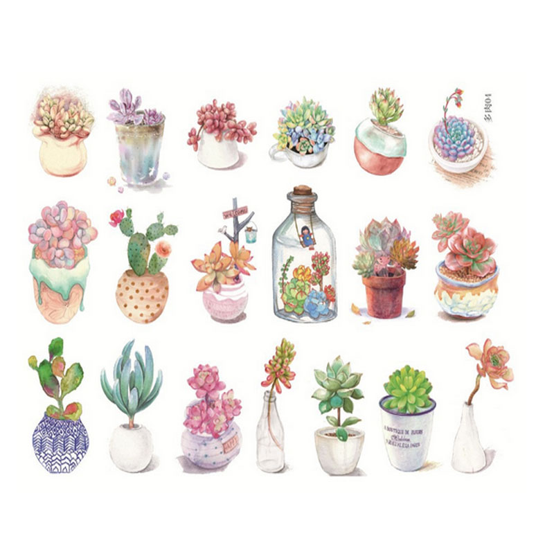 2X  kawaii meaty plants album decorations stickers DIY Manual stickers School office teaching stationery scrapbooking gift