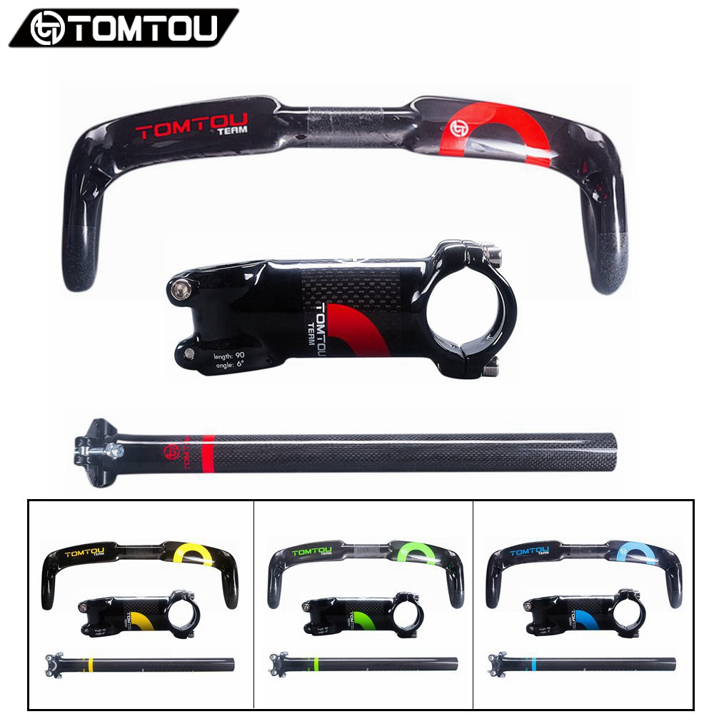 TOMTOU Glossy 3K Carbon Fiber Road Bicycle Handlebar Set Parts Handlebar Stem Seatpost Green Yellow Blue