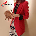 Slim Long Women Blazer Red Color 2016 Spring Suit Jacket Female Outerwear Autumn Coat Terno Feminino