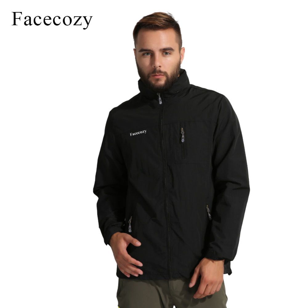 Facecozy Men Waterproof Hiking Jackets One Layer Thin Spring Summer Autumn Windbreaker Camping Hunting Outdoor Male Hooded Coat facecozy men spring