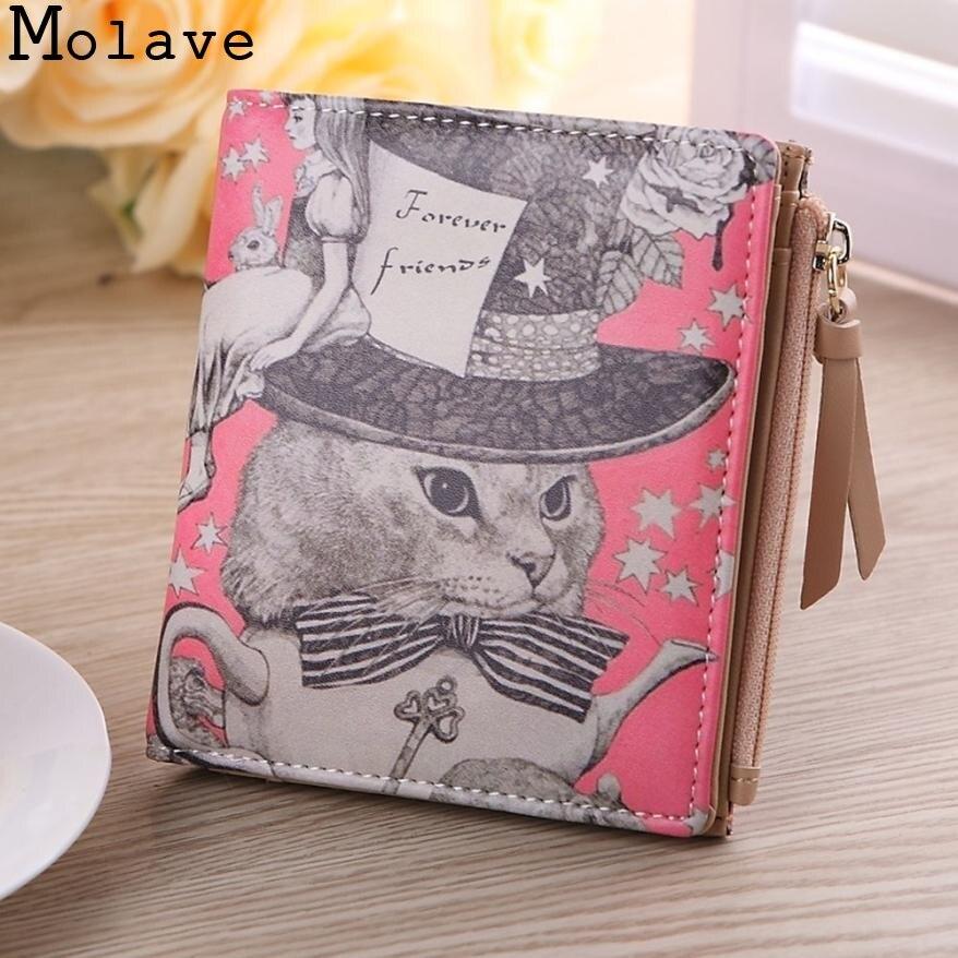 New Fashion Women Vintage Cat Coin Clip Purse Short Wallet Clutch Handbag Card Casual Tote Crocodile Clutch Corto cart June0627