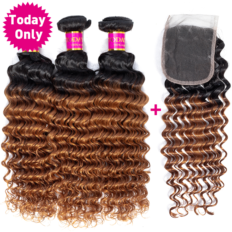 TODAY ONLY Peruvian Deep Wave Bundles With Closure Remy Peruvian Hair Bundles With Closure Ombre Human