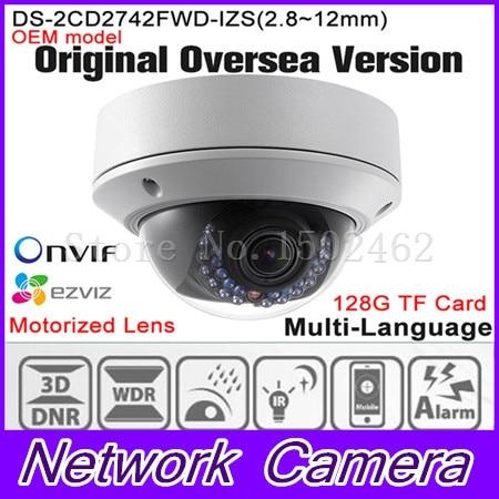 OEM DS-2CD2742FWD-IZS HIKVISION Original English Version IP Camera Varifocal 4MP POE P2P Onvif IPC Network camera CCTV HIK cam видеокамера ip hikvision ds 2cd2642fwd izs цветная