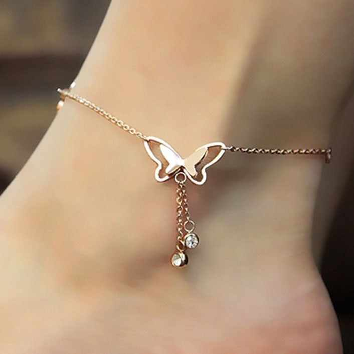 Butterfly Pendant Anklets Foot Chain Summer Yoga Beach Leg Bracelet Handmade Anklet Golden Silver Color Jewelry