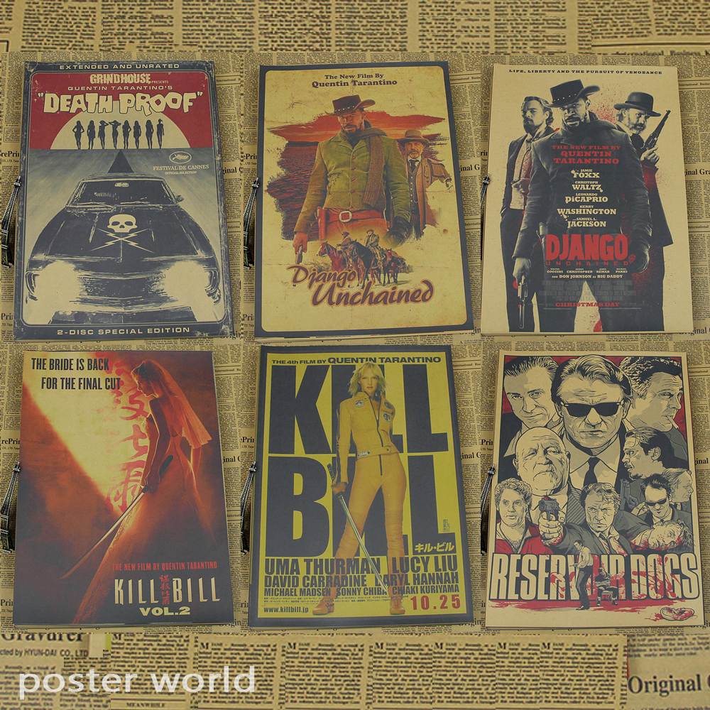 "Vintage Print by Kraft Paper cartoon movie Poster"" Reservoir Dogs"" Retro Bar Cafe Living Room Wall Art Crafts Sticker"
