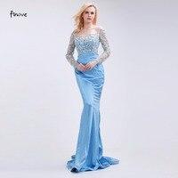 Finove Mermaid Prom Dresses New Phong Cách Gowns 2018 Beading Thuyền Cổ Dài Trong Suốt Đảng Dresses cho Cô Gái Phụ Nữ Sweep Train