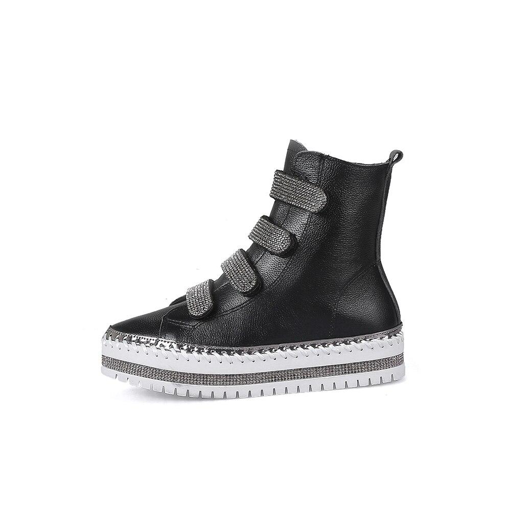 303bb9814 Novas Plana Sapatos High Top Couro Plataforma white Moda Quality Black  Genuíno Inverno Botas Mulheres Cristal ...