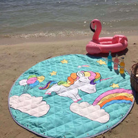 Latest Cartoon Waterproof Oxford Swan&Unicorn Toy Storage Bags Round 1.5m Kids Crawling Blanket Picnic Beach Mat Play Rug/Carpet