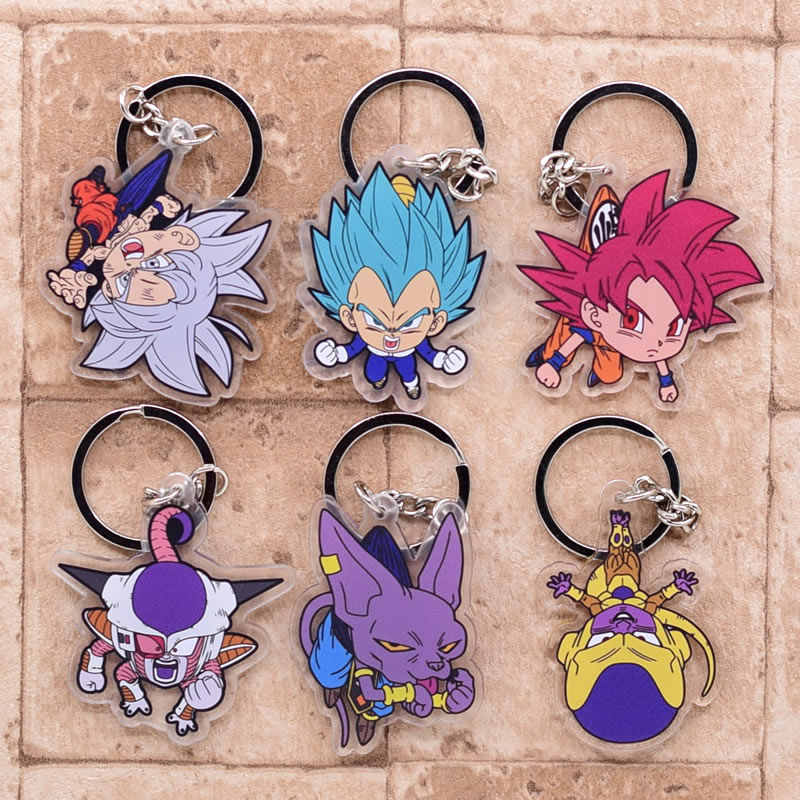 Novo dragão bola chaveiro bonito anime chaveiro pingente dos desenhos animados acessórios chaveiro goku super saiyan
