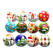10pcs/lot Christmas Snap Button Jewelry Santa Clau Wood Snap Buttons fit 18mm/20mm DIY Snap Bracelet Replaceable Buttons Jewelry(China)