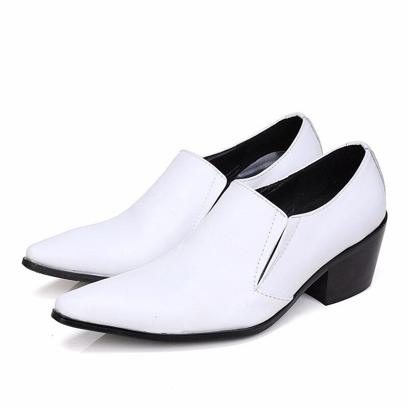 Christia bella novo clássico branco couro genuíno dos homens sapatos de casamento plus size apontou toe vestido sapatos de salto médio sapatos de negócios - 2