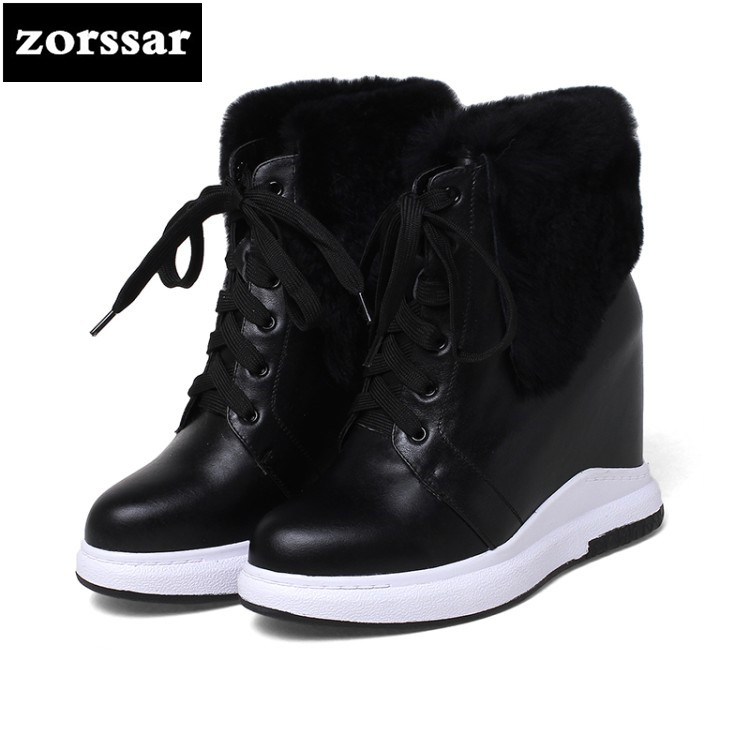 {Zorssar} 2019 New Women Booties Wedge Winter Warm Plush Snow boots Genuine Leather Women ankle Boots High heels Botas Mujer{Zorssar} 2019 New Women Booties Wedge Winter Warm Plush Snow boots Genuine Leather Women ankle Boots High heels Botas Mujer
