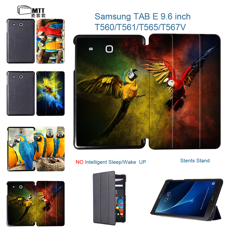 MTT Parrot Painted Design Tablet Case For Samsung galaxy Tab E 9.6 T560 T561 T565 9.6'' case Flip PU Leather Stand Smart Cover luxury flip stand case for samsung galaxy tab 3 10 1 p5200 p5210 p5220 tablet 10 1 inch pu leather protective cover for tab3
