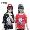 Winter Spring Girls T Shirt Polka Dot fleece Sweatshirt For Girl Teenagers School Girls Clothes Full Sleeve Kids T Shirts 10 12