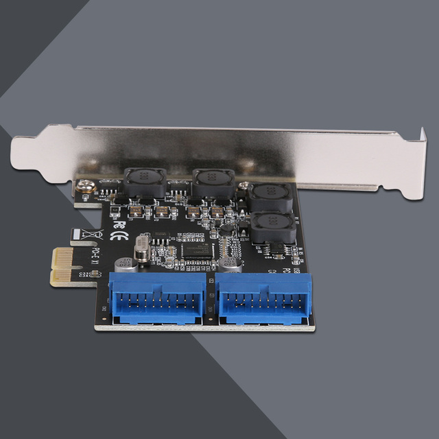 USB 3.0 PCIE PCI Express Control Card Adapter Desktop Front PCIe Transfer USB3.0 19PIN Interface Adapter Card 4