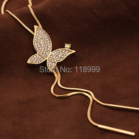 Austria Crystal Rhinestone Pendant Long Necklace Butterfly Design 18K Gold Plated Fashion Wholesale Love 2014