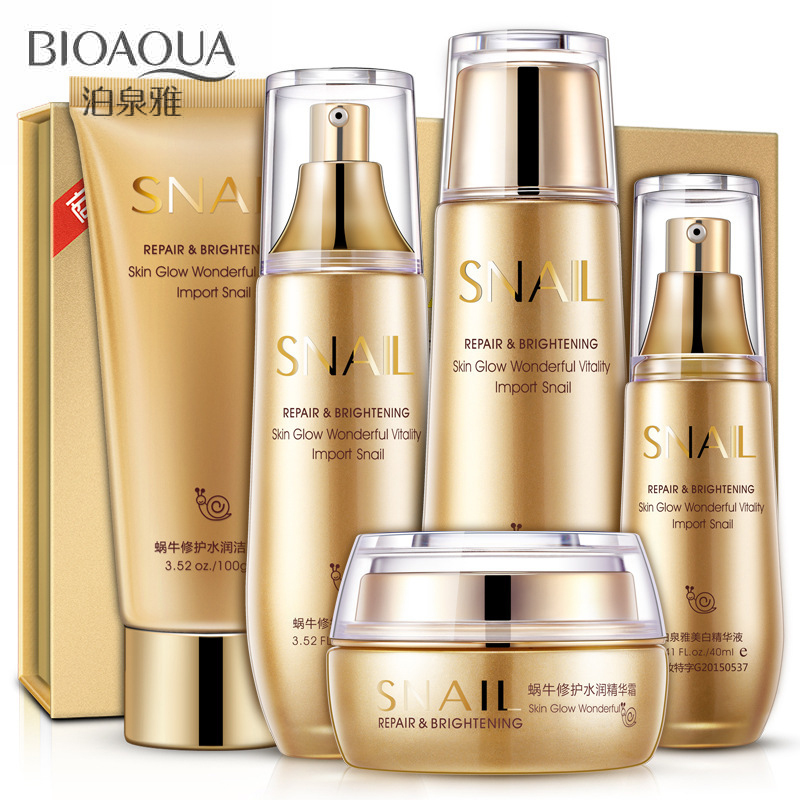 9036262cb144 Bioaqua Gold Snail Face Skin Care Set Moisturizing Whitening Facial Cream  Toner Essence milk Cleanser Korea Facial Set