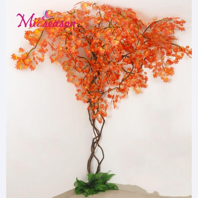 1 conjunto verde eucalipto folhas paisagismo interior sala de estar parede falso flor árvore rattan videira planta decoração para casa loja - 4