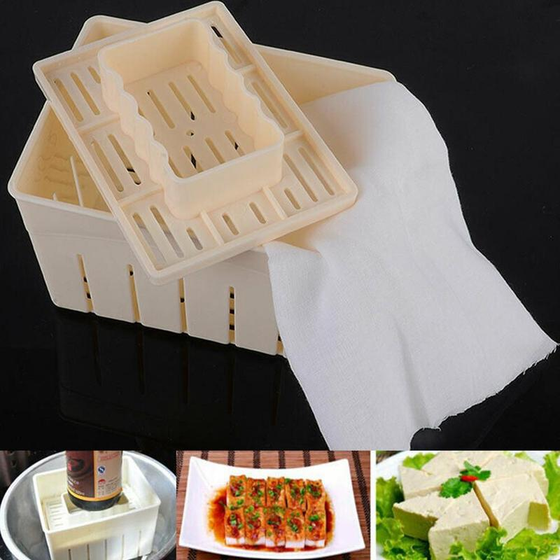 Homemade DIY Tofu Press Tofu Maker Tofu Machine Pressing <font><b>Mould</b></font> Kit <font><b>Cheese</b></font> Molds <font><b>Cheese</b></font> Cloth Kitchen Tool Tofu Molds image