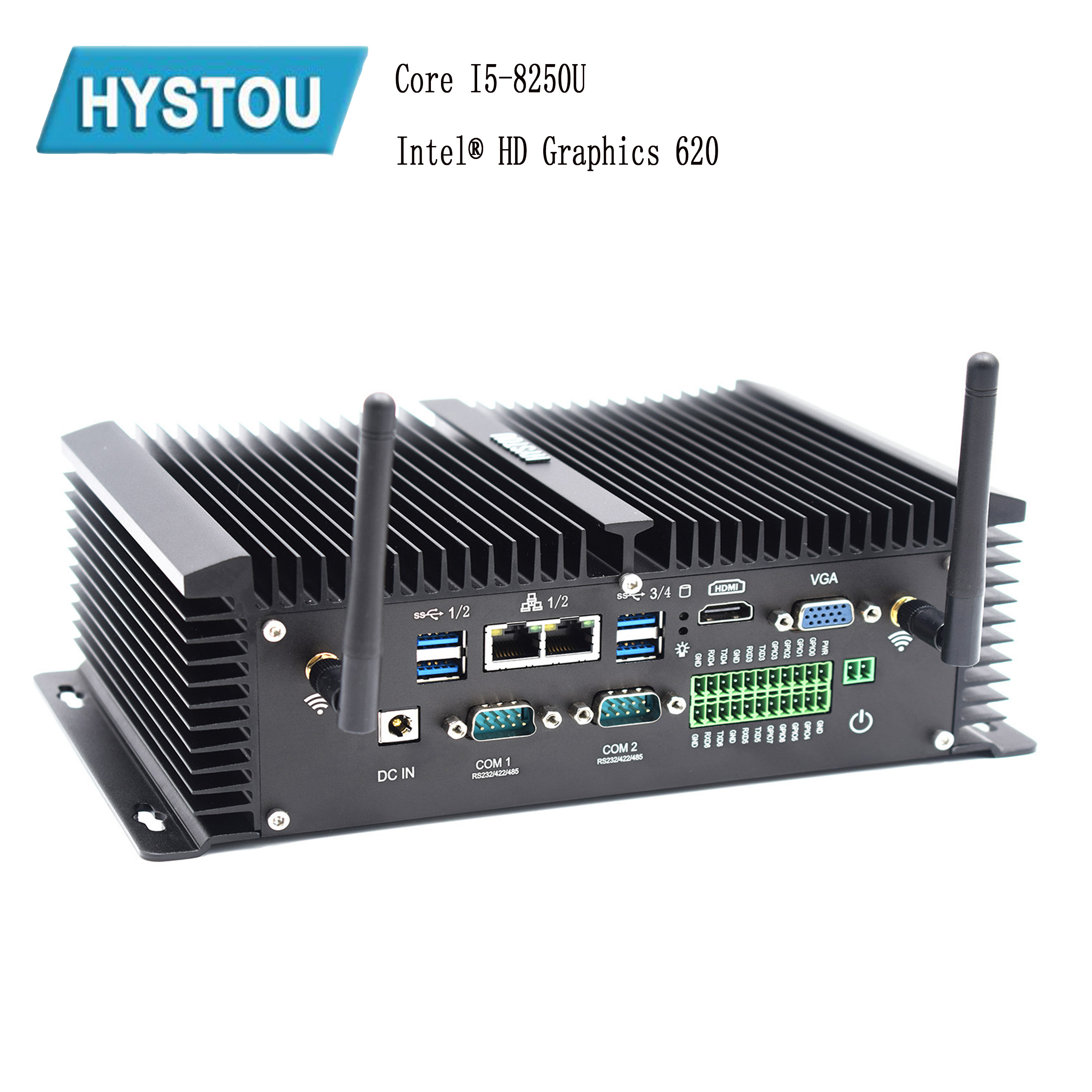 Hystou 2019 Mini Pc 4k Support I5 8250u Ddr4 4G SIM GPIO Port Windows10 Linux Pfsence Fanless Industrial Computer Rs232 R485 Com