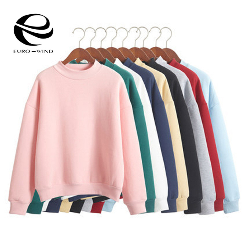 Hooded Pullover Tops Knit Sweatshirt Fleece Female Autumn Winter Loose Thick Casual 9-Colors