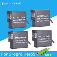 4pc 1800mAh AHDBT 501 Li ion digital Camera Battery AHDBT501 Rechargeable Battery For GOPRO HERO 5 GOPRO HERO 6 camera batterias