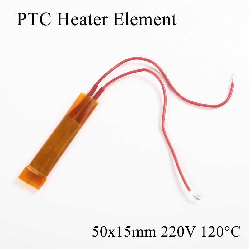 1pc 50x15mm 220V 120 Degree Celsius PTC Heater Element Constant Thermostat Insulated Thermistor Ceramic Air Heating Plate Chip