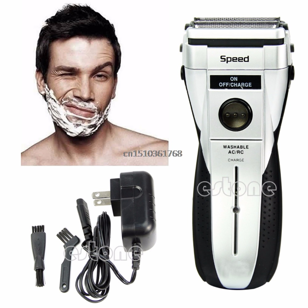 Rechargeable Cordless Electric Razor Facial Shaver Double Edge Foil Trimmer #Y05# #C05# kairui rechargeable tri floating loop speed foil shaver razor w trimmer ac 220v