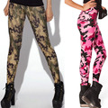 2014 new women' spring autumn sexy slim high elastic camouflage army pink ankle length legging