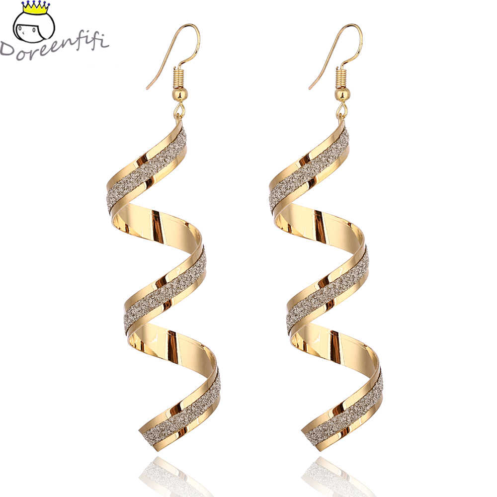 Gold Silver Color Jewelry New Arrival Fashion Punk Exaggerated Gold Silver Frosted Spiral Drop Earrings For Women Accessorie