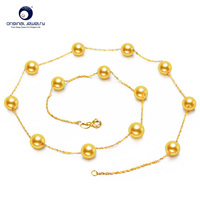 [YS] 6 7mm Seawater Cultured Japanese Akoya Pearl Necklace 18k Gold Chain Wedding Jewelry