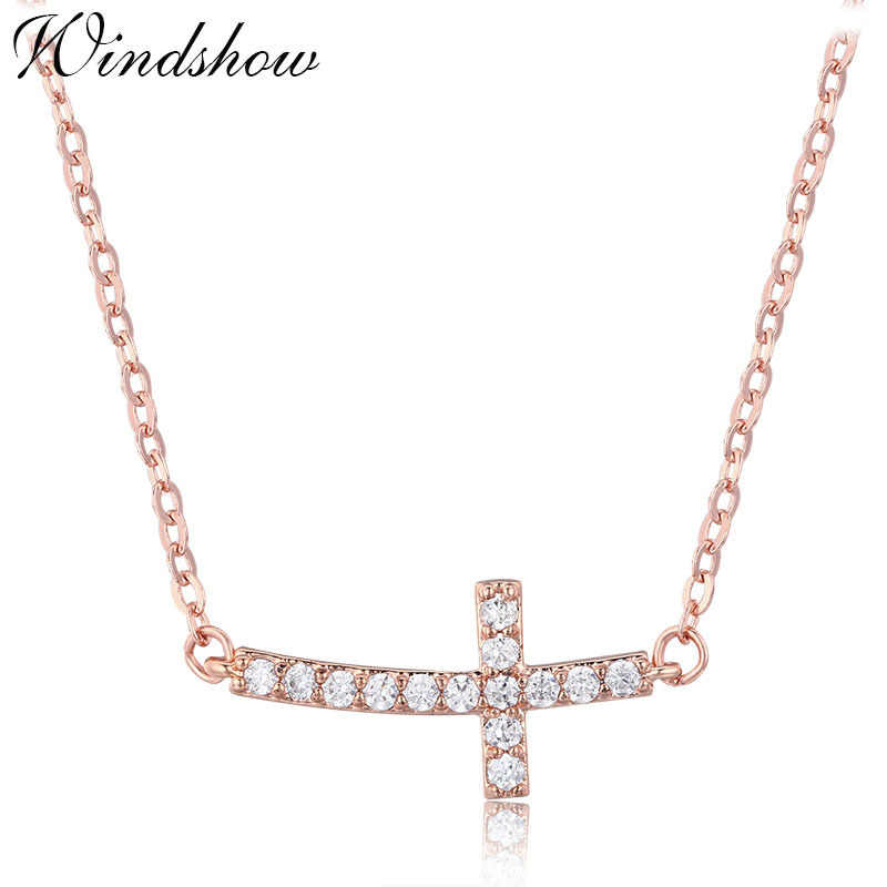 Horizontal Sideway Cross Channel Pave Crystal Slim Cable Chain Pendant Choker Necklace Women Girls Gold Color Fashion Jewelry
