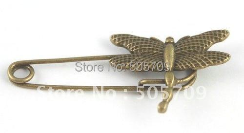 60 шт. состаренная бронза стрекоза брошь с английской булавкой A15547B