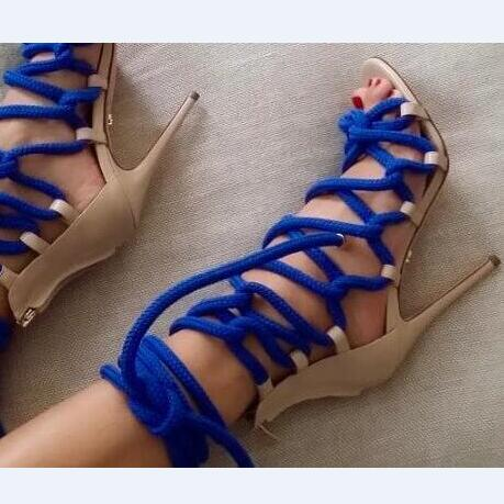 Sexy Women Cross-Tied Sandals Pumps New Fashion High Thin Heels Pointed Toe Mixed Colors Summer Wholesale Ladies Shoes