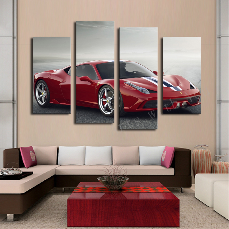 2016 Hot Sell 4 Panel Red Sports Car Large HD Decorative Art Print Painting On Canvas For Living Room Wall Paintings Pictures
