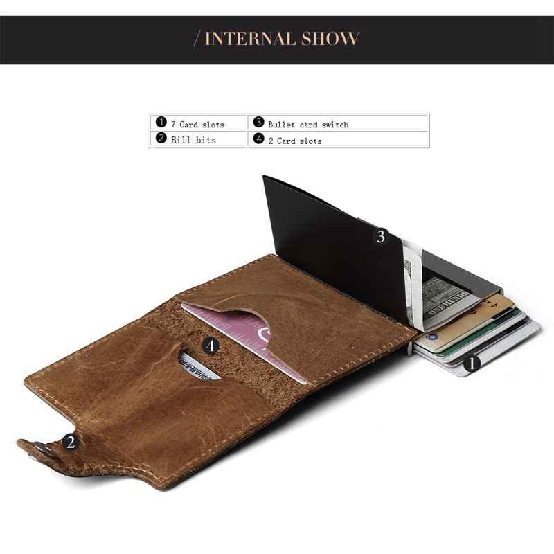Billetera de aluminio y cuero genuino para hombre para bolsillo trasero, con sección para documento de identidad, mini billetera mágica que bloquea las señales RFID, billetera automática para tarjetas de crédito