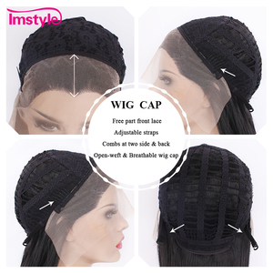 Image 5 - Imstyle黒かつらロング合成レースの前部かつらストレート自然な髪のかつら女性耐熱繊維コスプレかつら