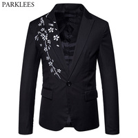 Men S Fashion Floral Embroidery Suit Blazers 2018 Spring New Slim Fit Single Breasted One Button
