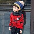 Дети мальчики свитер Зима 2016 новая мода мальчик одежда о-образным вырезом полный рукав толщина свитера kids A265