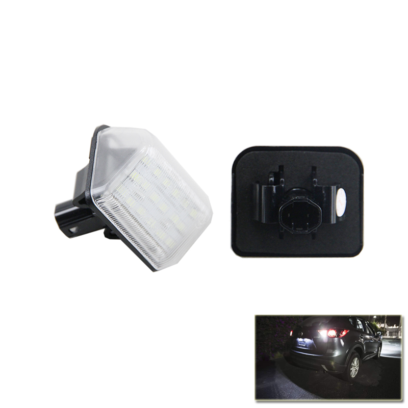 Xenon White Set OE-Replace Led Number License Plate Lights Lamp For Mazda CX5 CX7 6 Speed6 Car Styling Car Led Auto Light 2pcs car led license plate lights 12v white smd3528 led number plate lamp bulb kit for ford focus c max 03 07
