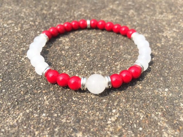 Natural Stone Bead Bracelet 6mm Whitejade C Red Yoga Mala Beads Fashion Women S