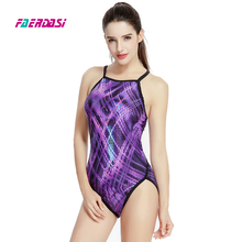 Faerdasi Women Sexy Sports Swimwear Patchwork One Piece Swimsuit Competition Bathing Suits Training Swim suit Beachwear Bodysuit