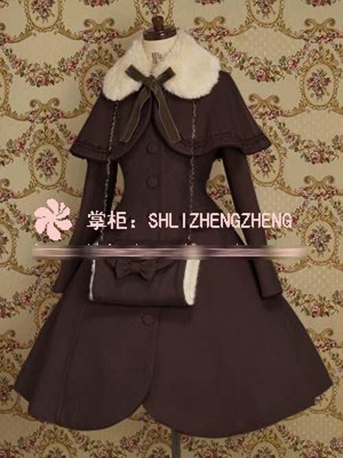Cosplay Winter Gothic Lolita Wool Coat Christmas Costume Coat+Shawl+Handwarmers 7 Colors NEW