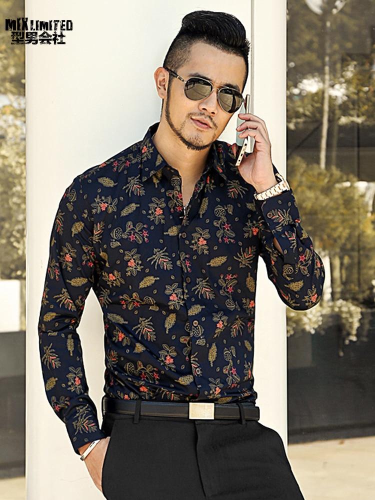 US $21.24 43% OFF|new spring men's slim floral shirt printed shirt long sleeved casual shirts Fashion Classic Men Dress Shirt brand clothing S2174 in