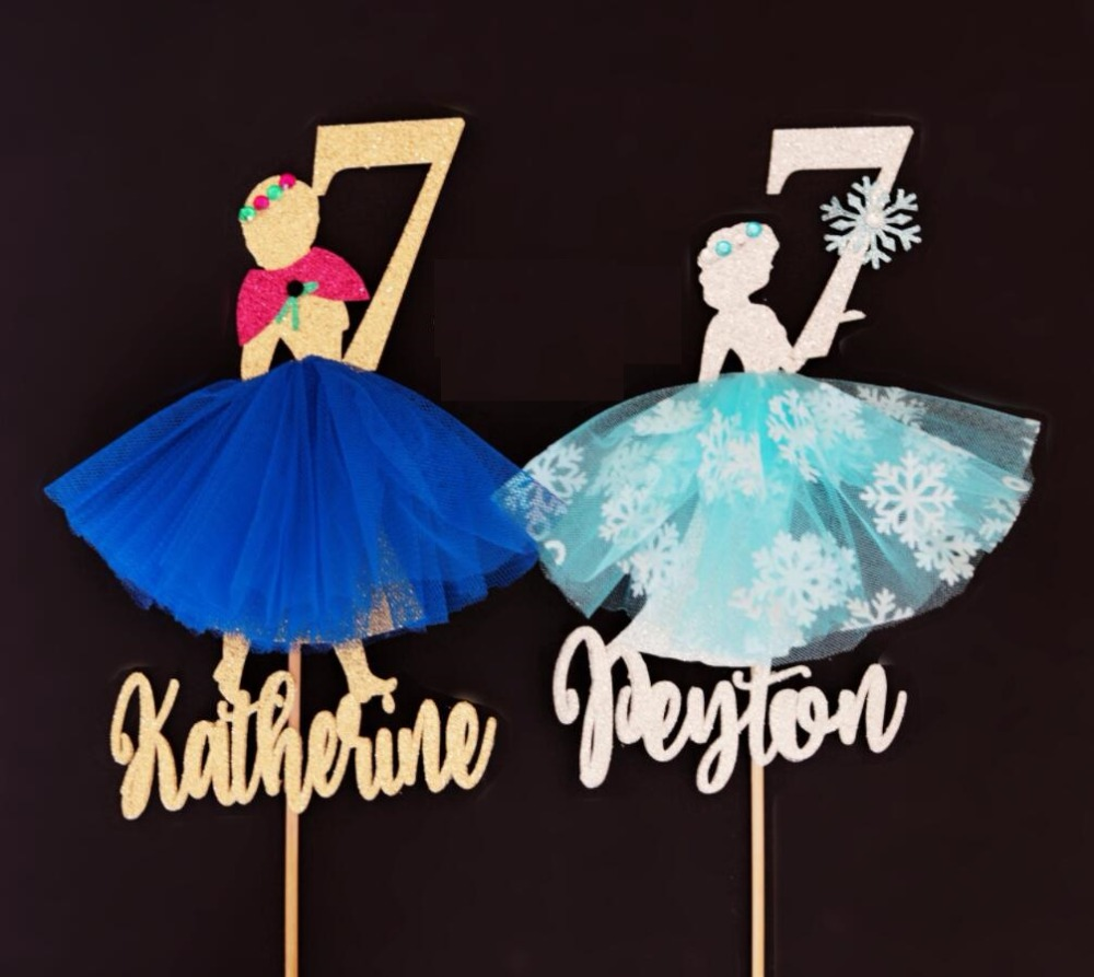 Marvelous Custom Name Age Glitter Elsa Anna Birthday Cake Topper Princess Funny Birthday Cards Online Fluifree Goldxyz