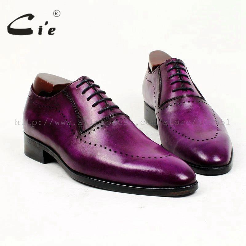 CIE оксфорды с круглым носком патина фиолетовый узкой обуви Последние 100% натуральной телячьей кожи дышащие заказ Мужская обувь ручной работ...