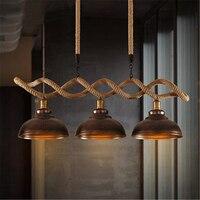 3 Kafaları Amerikan Köy Yaratıcı Restoran Avize İskandinav Retro Tasarımcı Işıkları Bar Giyim Mağazası Kenevir Lamba Ücretsiz Kargo