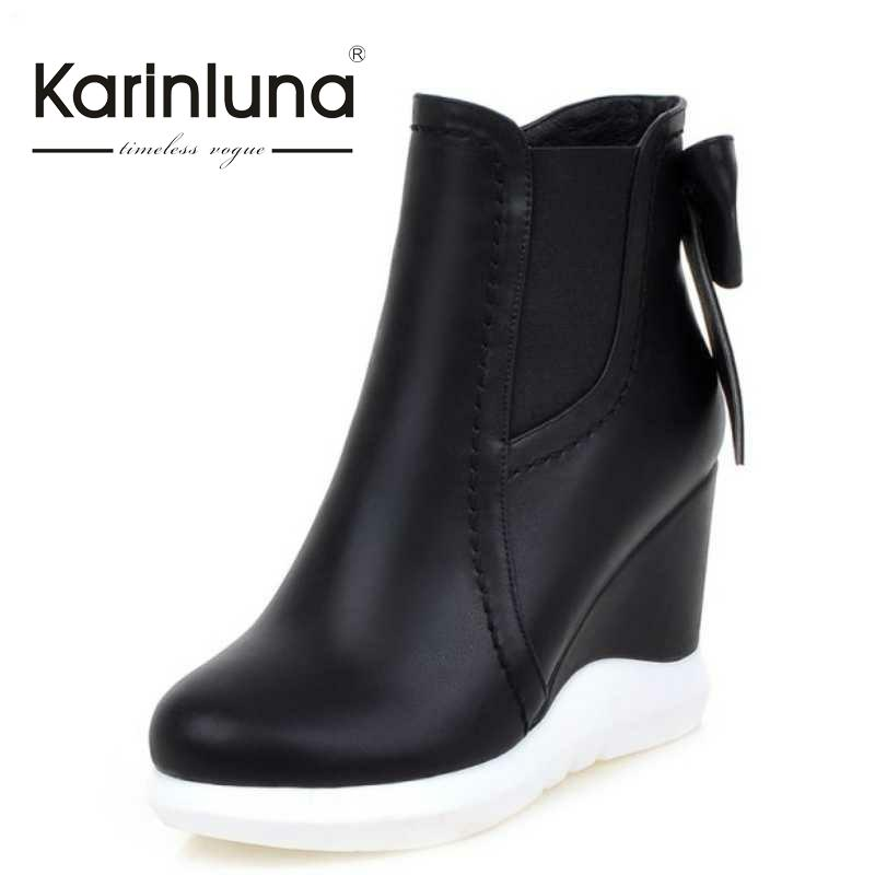 ФОТО KarinLuna Big Size 33-43 Women Ankle Boots Zip Up Sweet Bowtie Wedges Shoes Laides Autumn Winter Warm Boots